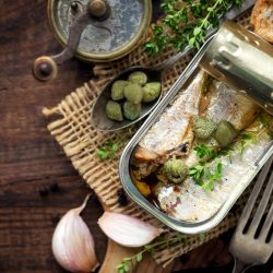 Canned sardines with capers